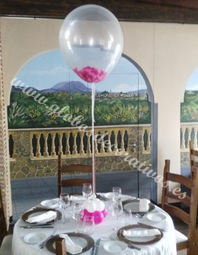 centro de mesa globo con petalos