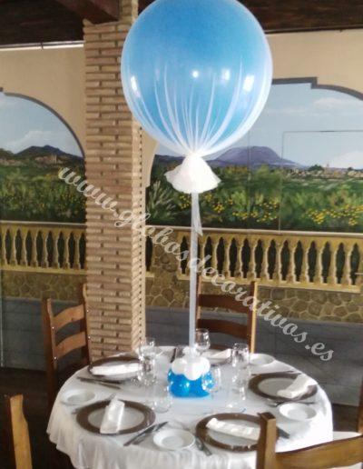centro de mesa globo grande con tull